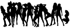Vector silhouettes of sexy women. - stock illustration