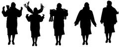 Stock Illustration of Vector silhouette of a old woman.