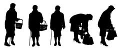 Vector silhouette of a old woman. - stock illustration