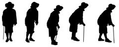 Vector silhouette of a old woman. Stock Illustration