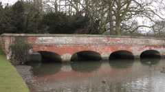 Audley House bridge over river England rainy day 4K Stock Footage