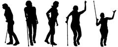 Vector silhouettes of people with crutches. - stock illustration