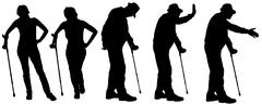 Stock Illustration of Vector silhouette of the old people.