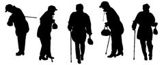 Vector silhouette of the old woman. - stock illustration
