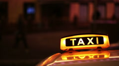 Illuminated Sighn of Taxi Cab Stock Footage