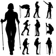 Vector silhouettes of people with walking bare. - stock illustration