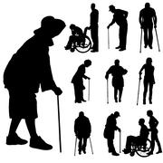 Vector silhouette of disabled people. Stock Illustration