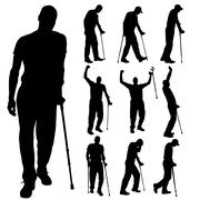 Vector silhouette of disabled people. - stock illustration
