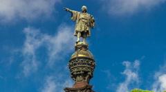 Top of the Columbus Monument timelapse hyperlapse Mirador de Colom in Barcelona Stock Footage