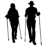 Vector silhouettes of people with walking bare. Stock Illustration