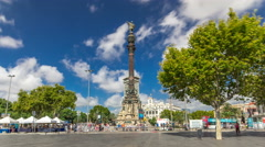 Columbus Monument timelapse hyperlapse Mirador de Colom in Barcelona, Catalonia Stock Footage