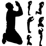 Vector silhouette of people who pray. Piirros
