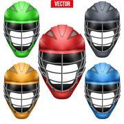 Lacrosse Helmets Set Front View Stock Illustration