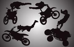 Vector silhouette of motocross. Stock Illustration