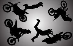 Vector silhouette of motocross. - stock illustration