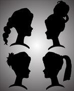 Vector silhouettes of women. Stock Illustration