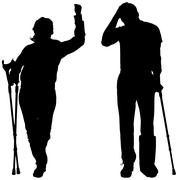 Vector silhouettes of people with crutch. - stock illustration