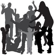 Stock Illustration of Vector silhouette of a family.