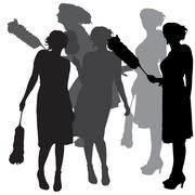 Vector silhouette of a cleaning lady. - stock illustration