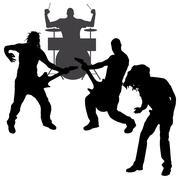 Vector musicians silhouette. Stock Illustration