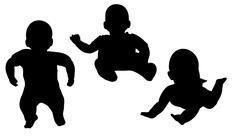 Vector silhouette of a toddler. - stock illustration