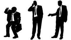 Vector silhouette of businessman. - stock illustration