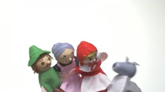 4K Little Red Riding Hood Kids Puppets Stock Footage