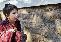 Boy examining moth on stone wall Stock Photos