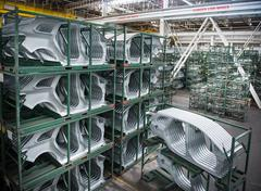 Stock Photo of Car body parts in car factory