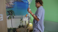 Female Patient in Hospital Dreaming About Paradise Beach Stock Footage