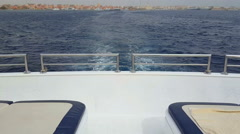 View from the stern of the yacht at the sea Stock Footage