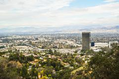 Aerial view of Los angeles city from Runyon Canyon park Mountain View Stock Photos