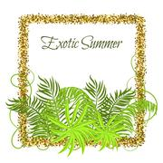 Summer Tropical Green Plants in glitter frame Stock Illustration