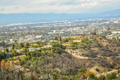 Aerial view of Los angeles city from Runyon Canyon park Mountain View - stock photo