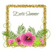 Summer Tropical Plants and Hibiscus Flowers in glitter frame - stock illustration