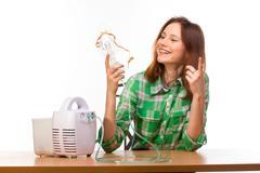 Woman with inhaler Stock Photos