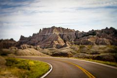 Stock Photo of Highway in Badlands National Park, South Dakota, USA