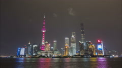 Time lapse of Pudong skyline at night, modern Shanghai, urban China Stock Footage