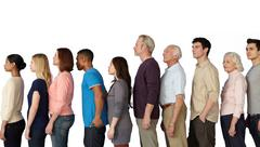Group of people in a line, side view Stock Photos