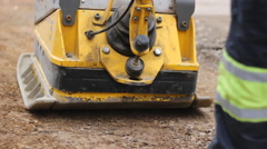 Road machines for handling asphalt road - stock footage