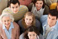 Group of people looking at camera, high angle - stock photo