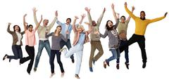 Group of people jumping, studio shot - stock photo