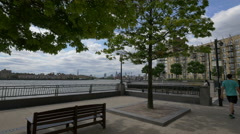 Zoom in on River Thames, London - stock footage