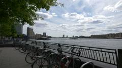 Bike racks on River Thames bank, London Stock Footage