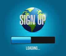 sign up global loading bar illustration - stock illustration