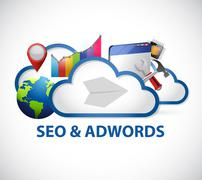 cloud computing seo and adwords sign - stock illustration