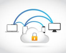 secure server and network concept - stock illustration