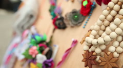 Wooden beads at the fair - stock footage