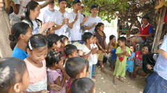 Youth Missions Team Singing Songs In Burmese Village Stock Footage