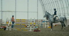 Horses at jumping competition  Stock Footage